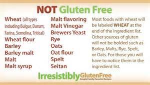 Not Gluten Free Ingredients List